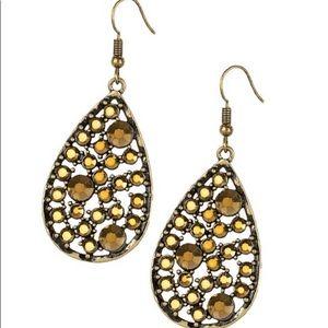 aurum rhinestones teardrop earrings Paparazzi